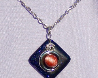 Solar Eclipse Goldstone Necklace