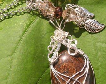 Elven Dream Wire Wrap Bronzite Necklace