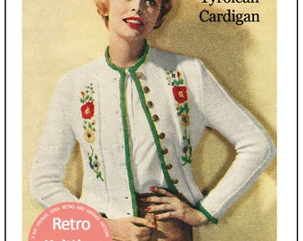 1950s Tyrolean Jacket Vintage Knitting Pattern - PDF  Instant Download