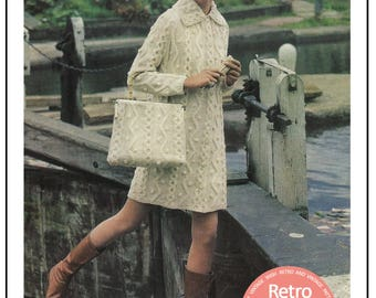 1960's Aran Coat, Bag and Beret Knitting Pattern – PDF Knitting Pattern- PDF Instant Download