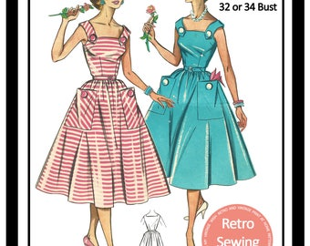1950s Summer Dress Sewing Pattern - Rockabilly - Pin Up -  Paper Pattern 2 sizes available
