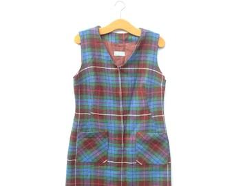 Zipper Pinafore Dress | Tartan