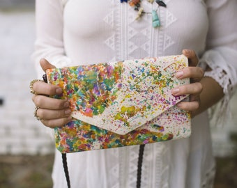 Crossbody Bag - Map of the World - Envelope Clutch - World Map - Hand Painted Purses - Hand Painted Bags - Womens Handbags