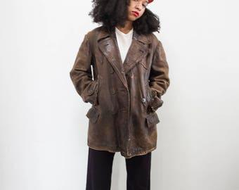 vintage 1940s german unisex brown leather coat