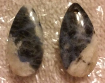 27mm Pair of Natural Sodalite Gemstone Teardrop Gemstone Pendant Beads  Pair of Sodalite