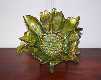 Green Iridescent Glass Lily Pons Bowl, Faux Carnival Glass Sunflower Bowl, 12 Inch Art Glass Centerpiece Bowl