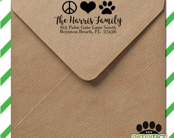 Peace, love, and pets - custom return address stamp - personalized self inking stamp - great for gifts!
