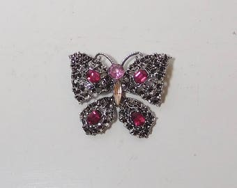 Butterfly Brooch, Antiqued Silver, Rhinestones, Pink Rhinestone, Yellow Rhinestone, Large Brooch, Vintage