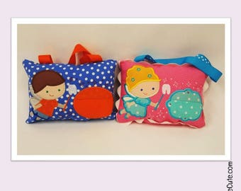 Tooth Fairy Pillow with Tooth Pouch on the Front and Money Pocket on the Back. Pillow Easily Hangs on Door or Bedpost.