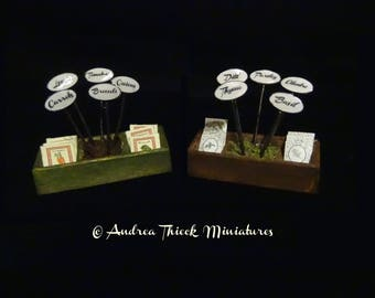 "Miniature Seed Boxes with ""Tin"" Signs - 1-12 scale - Choose one"