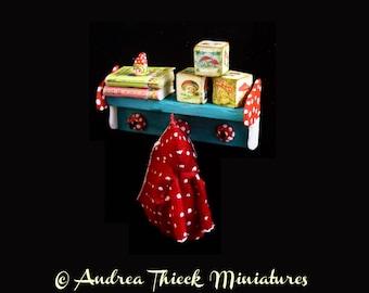Miniature Toadstool Toy Shelf - OOAK - 1:12 scale