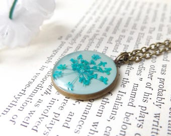 Floral necklace - real flower jewellery - real flower necklace in blue - handmade in the UK - gifts for women
