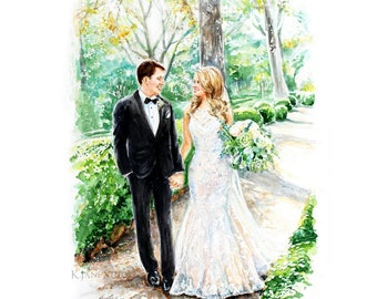 Wedding Painting / Custom Watercolor Portrait / Couple Portrait/ Custom portrait / Wedding gift