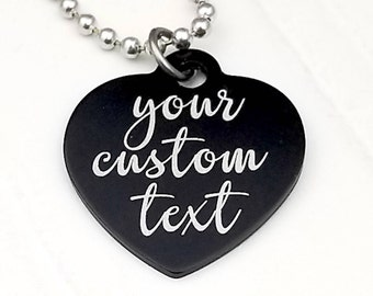 Customized Anodized Aluminum Heart with your own text, personalized, choice of colors