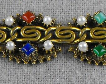 Goldtone Bracelet with Semi-precious Stones and Pearls