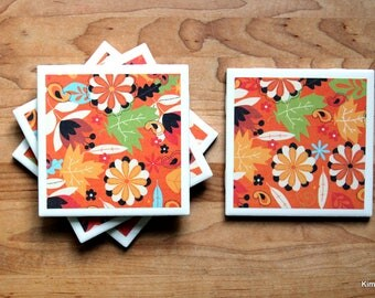 Tile Coasters - Coasters for Drinks - Coasters Tile - Fall Coasters - Handmade Coasters - Coasters - Drink Coasters - Tile Coasters