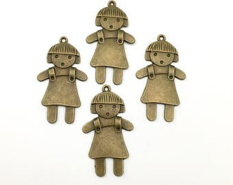 4 little girl charms bronze tone 55mm #CH 311