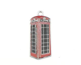 1  London phone booth charm enamel and silver tone ,16mm x 37mm  # CH 553