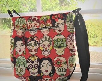 Brick Red Small Sugar Frida Skulls Adjustable Cross Body Trail Tote Bag