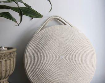 Round Basket Bag    Cotton Rope Bag - White Summer Market Bag    Coil Rope Circle Purse