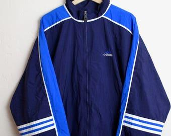 90s Vintage Adidas 3 Stripe Nylon Windbreaker Jacket Zip Up Embroidered Retro Adidas Adidas Streetwear Vintage Streetwear Blue Size XL