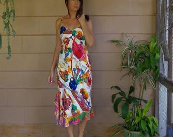 Vintage Sundress Dress / Early 90s / Colorful Ruffle Island / Rayon Small