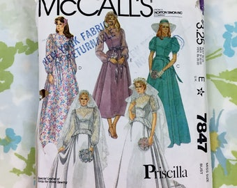 Vintage McCall's 7847 Wedding Dress Sewing Pattern Size 10