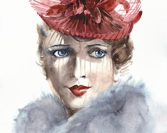 Original watercolor painting lady in red hat vintage hat woman portrait artwork 11x14""