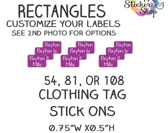 Clothing Tag Stick Ons, Kid's Name Labels,Waterproof, Washer Safe for School, Daycare, Camp Personalized Sticker, Durable Long Lasting