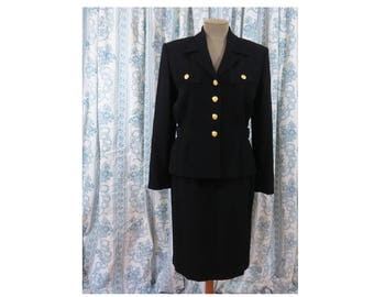 Vintage Liz Claiborne Black Wool Suit - Blazer and Pencil Skirt- Military Style Buttons Size 8 Beautiful Condition