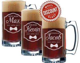 Monogrammed Beer Mugs, Wedding Party Beer Mugs, Beer Gift, Groomsmen Beer Gift, Beer Gift for Groomsmen, Beer Mug Personalized, 12 oz