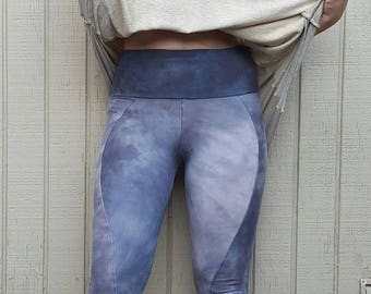 Hand painted hemp calf pocket leggings organic clothing