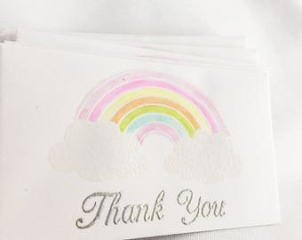 Set of 10 Business Card Size Silver Embossed Watercolor Rainbow Thank You Envelopes with Note Cards