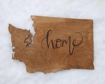 Wood Burned State Plaque: Washington Home