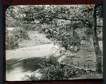 Antique Magic Lantern Slide - Beautiful Rural River Scene with Trees and Fence - Projector Slide - Rural Landscape