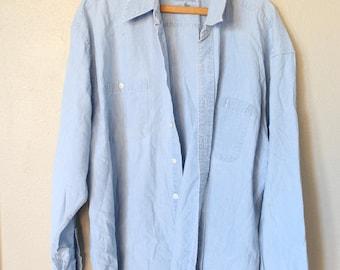 vintage 1990's oversized  blue chambray denim shirt *