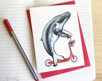Humpback whale on scooter card, birthday card