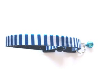 Breakaway Cat Collar, Nautical Striped Ribbon, Adjustable Collar, Safety Clasp, Kitten Collars, Small Cat Collar