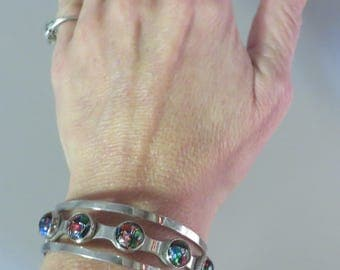 Vintage Mexico chunky sterling silver foil art glass cuff bracelet 33 grams