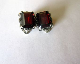 """Vintage 1/2"""" Sterling Silver, Garnet and Marcasite Clip On Earrings - 925 Sterling Silver Garnets - New Old Stock Never Worn Women's Jewelry"""