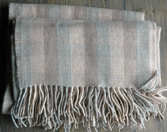 Pure Merino Wool blanket with fringes Beige Grey check Merino Wool blanket Pure wool throws Wool throw 51''X71''/130X180cm Perfect gift