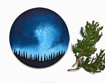 Night Sky Painting - Circle Art - Starry Sky -Forest Art - Space Art - Landscape Painting