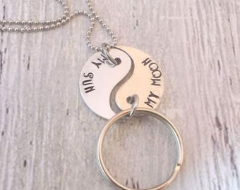 Personalized Yin Yang Necklace and Keychain Set,  Couples Jewelry Set, Friends Jewelry Set