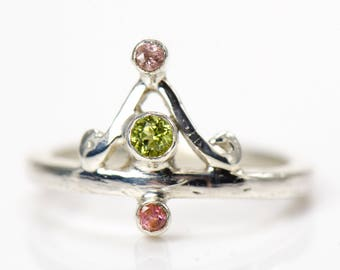 Peridot and Pink Tourmaline Ring - Silver Band - Size 6.25 - Fabricated Gemstone Ring - Shining Opus Designs