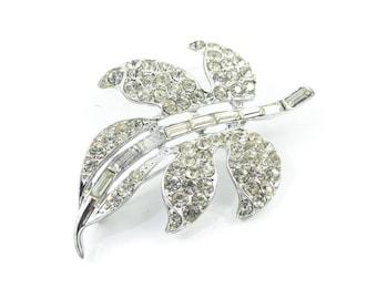 Vintage Rhinestone Leaf Brooch, Silver Tone