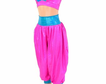 Jenie Costume Neon Pink Starlette Bralette w/Peacock Straps & Neon Pink Sparkly Jewel Genie Pants w/Peacock Band and Cuffs  154636