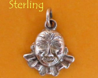 Silver Clown Charm - Vintage Sterling Silver Clown Face Pendant, Starter Charm, Charm Bracelet, Gift Idea