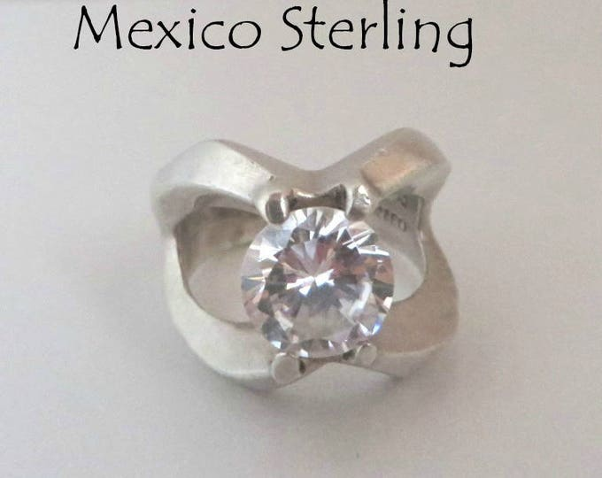 Mexican CZ Ring, Vintage Sterling Silver Ring, Statement Ring, Engagement Ring, Size 8.5, FREE SHIPPING