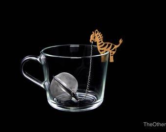 Tea Buddy™ Zebra tea inrfuser, loose leaf tea, tea steeper, mesh tea ball, tea gift ideas, animal lovers gift, tea accessories, tea charm