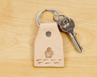 Penguin Keychain Leather Keychain Penguin Key Fob Penguin Lover Gift Leather Key Fob Penguin Gift Penguin Keyring Romantic Couples Keychain
